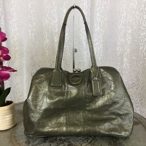 Coach Gray Leather Kisslock Stitched C Bag F15658